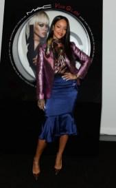 Rihanna at MAC Viva Glam Launch in Lanvin. Photo: Dimitrios Kambouris/Getty