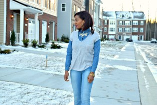Tee and Denim Top Style Stamped