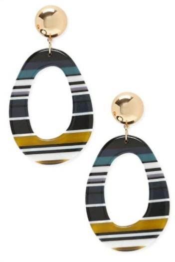 Striped Drop Earrings