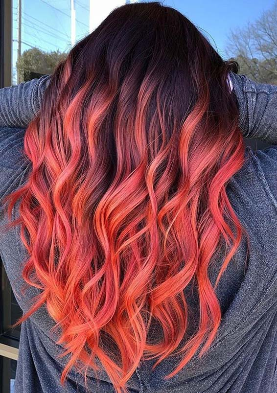 Beautiful peach balayage hair color trends for Women 2020