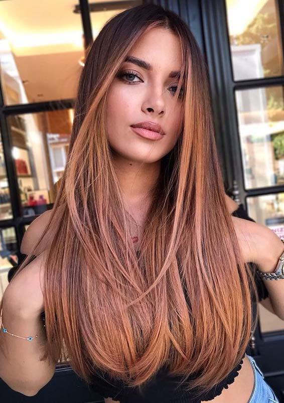 Beautiful rose balayage Hair Color Ideas