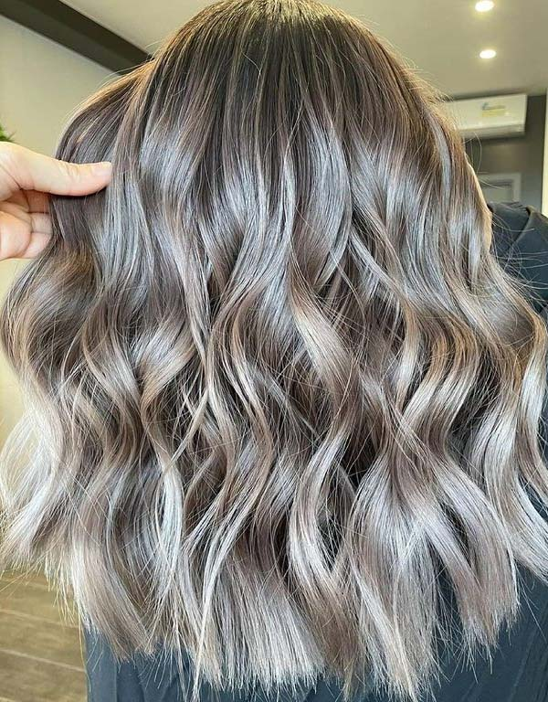 Soft textured curls with Mushroom Brown Ombre Color