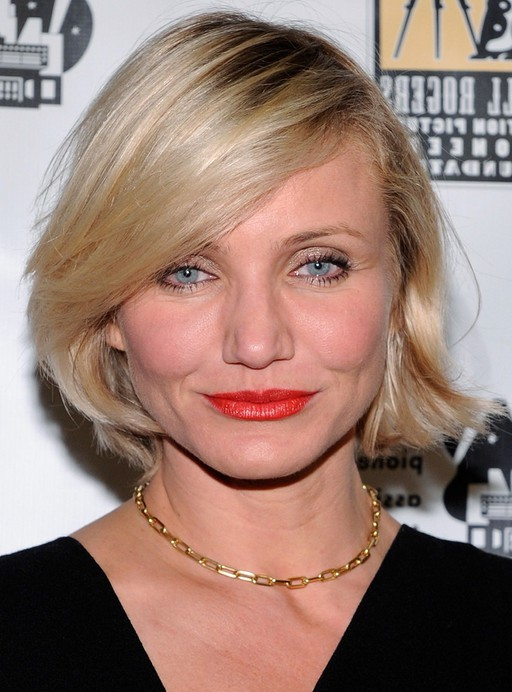 Cameron Diaz Short Bob Hairstyle With Side Swept Bangs