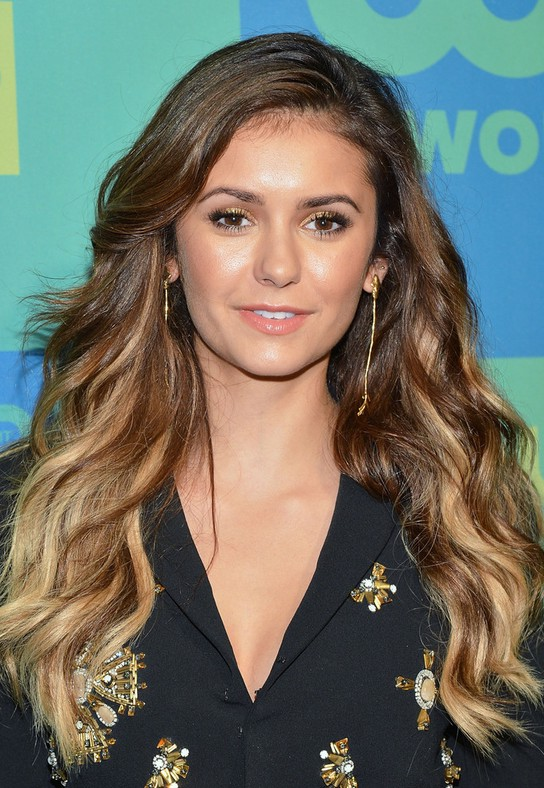 Nina Dobrev Layered Ombre Wavy Hairstyle For Women