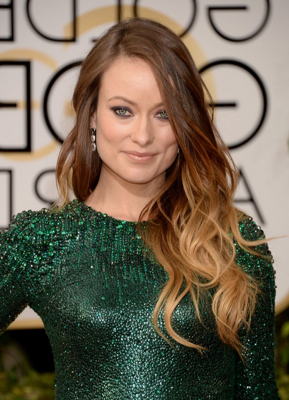 Olivia Wilde Tousled Wavy Ombre Hair For Long Hair