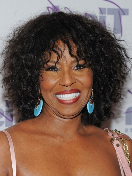 Pauletta Washington Medium Curly With Bangs For African