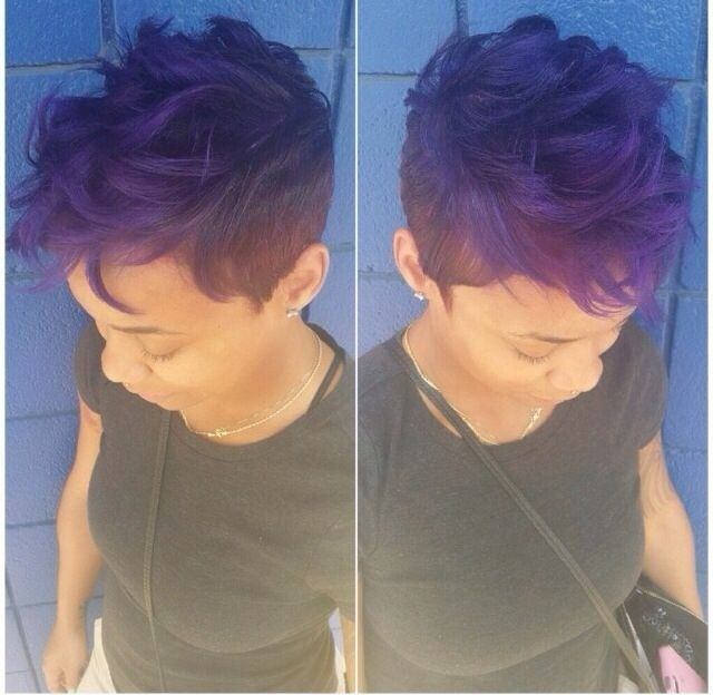 Short Bark to Purple African American Hairstyle for Short Hair