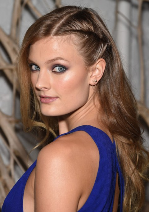 Constance Jablonski Half Twisted Long Wavy Hairstyle