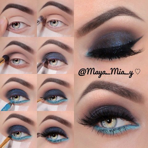 Blue Shimmer Eye Makeup for New Year's Look