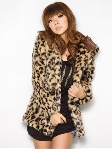 Faux leopard print hoodie