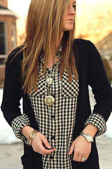 Gingham pattern button down shirt