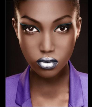 Metallic silver lips