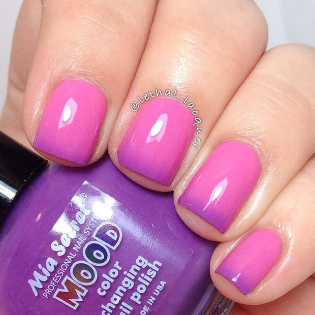 Pink And Purple Nail Design Designs For Short Nails