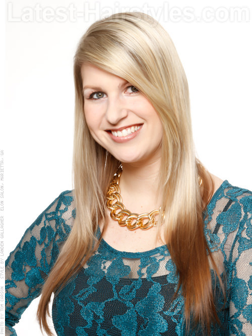 Straight Blonde Hair with Long Side Bangs