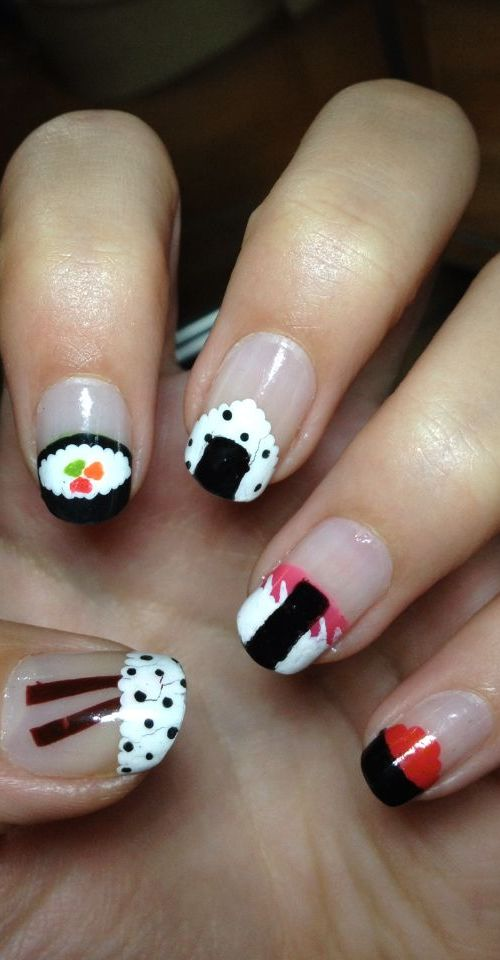 Stylish Sushi Nail Design
