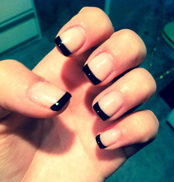 French Manicure With Black Tips Design Nail Polish
