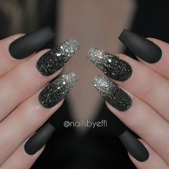 8. Matte Black Glitter Nail Art Design