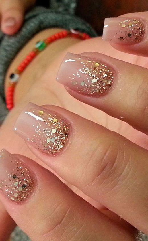 1. Simple And Elegant Glitter Ombre Nails