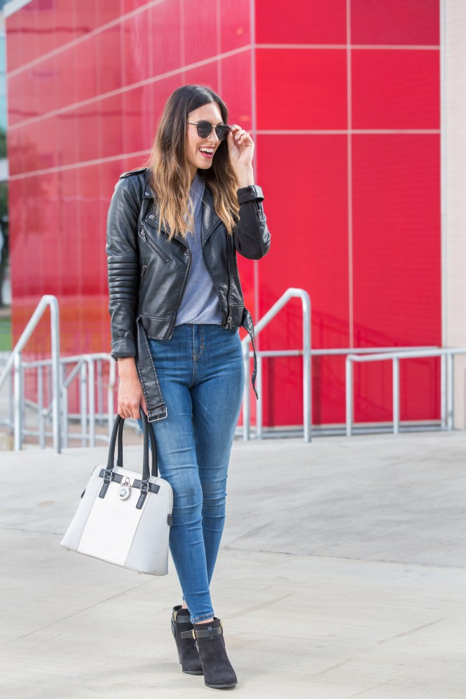capsule wardrobe, biker jacket, high waisted jeans