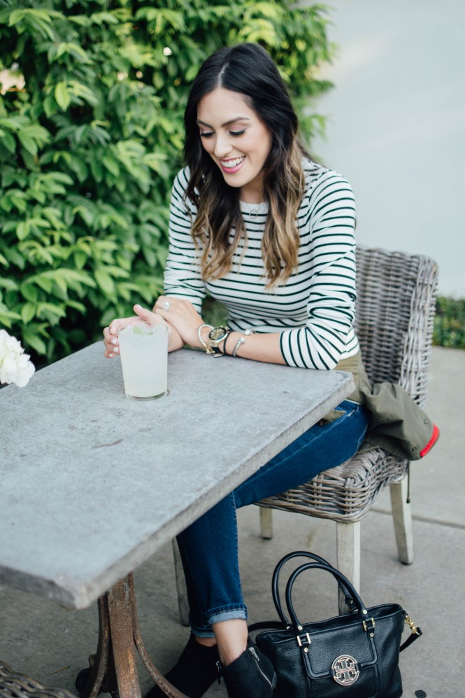 striped tee, army jacket, brunch ideas in houston for moms