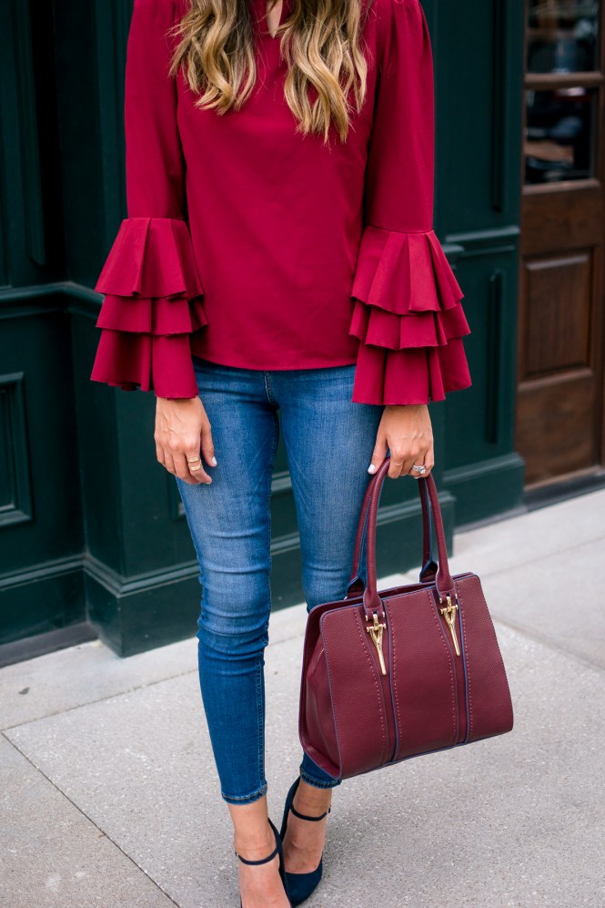 ruffled belle sleeve top