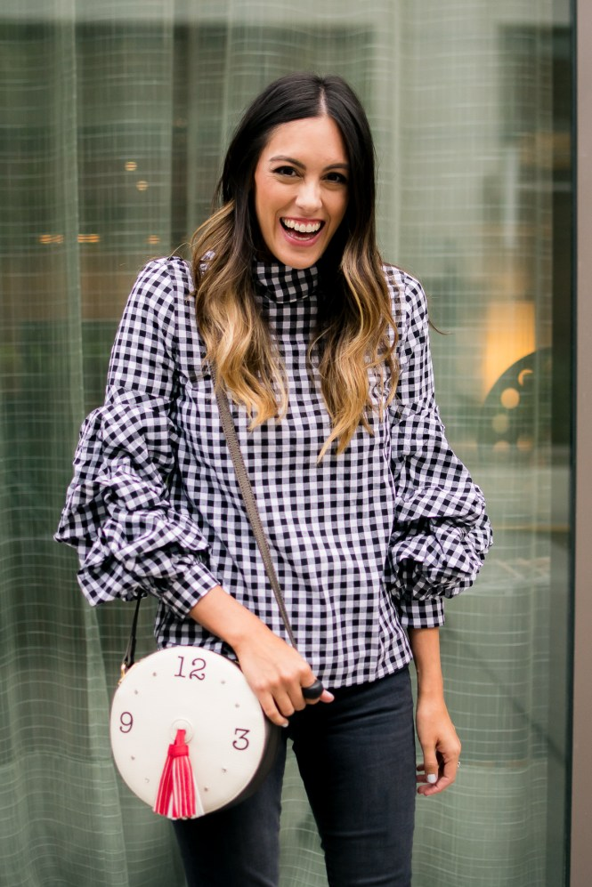style the girl gingham ruffled top
