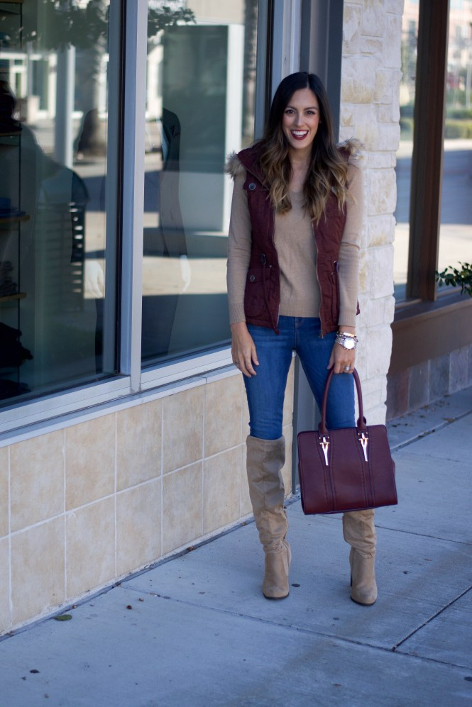 faux fur lined vest