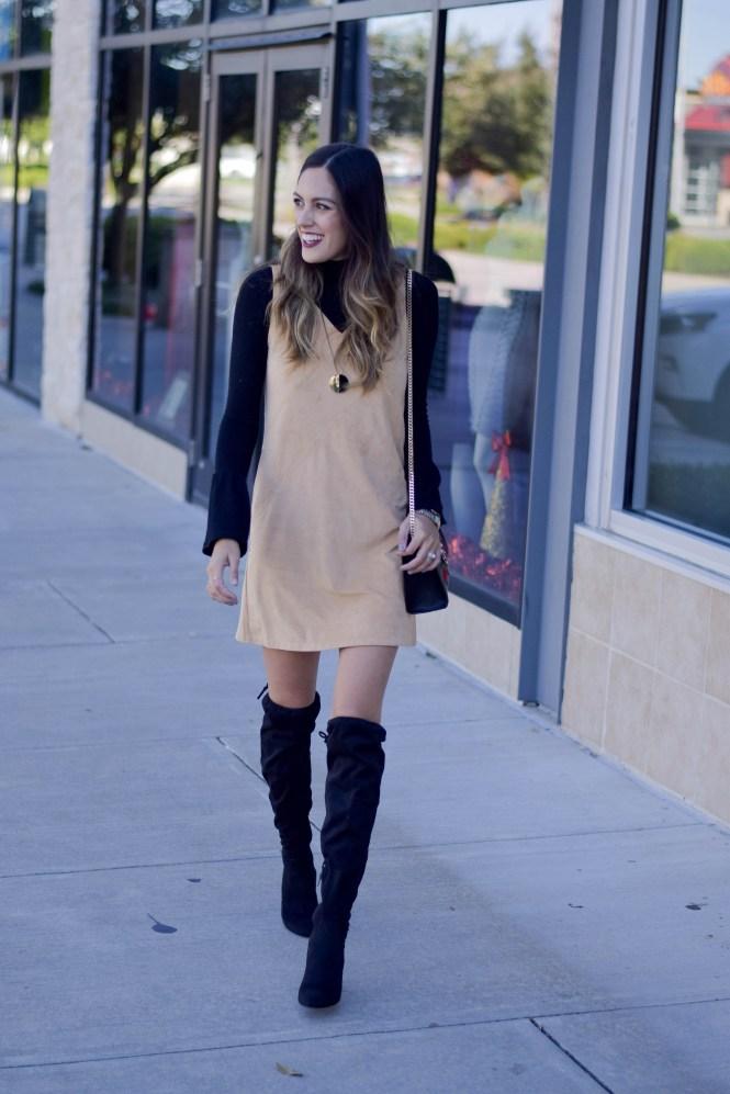 suede dress, bell sleeve turtleneck