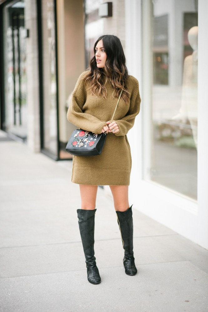 Style The Girl Olive Sweater Dress