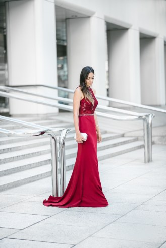 Style The Girl Burgundy Empire State Waist Prom Dress/ Gown