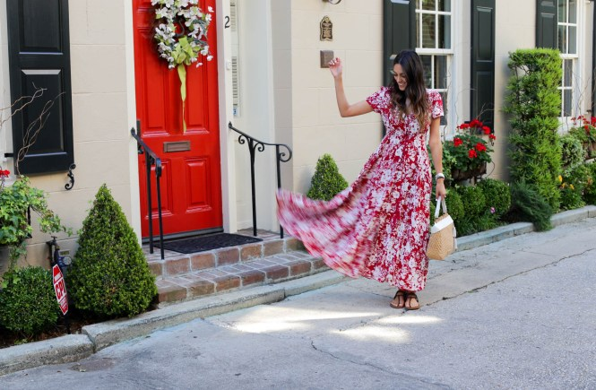 Style The Girl Red Floral Maxi in Charleston