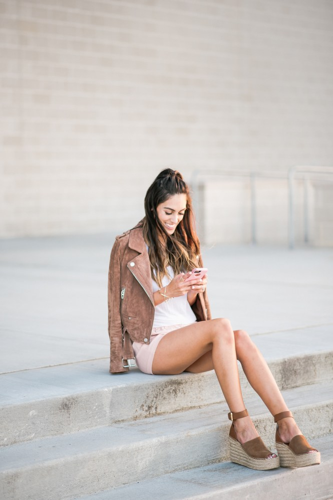 Style The Girl Brown Suede Jacket, Blush Pink Shorts