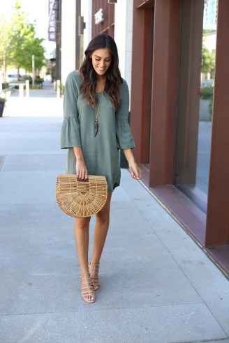 Style The Girl Green Suede Bell Sleeve Dress