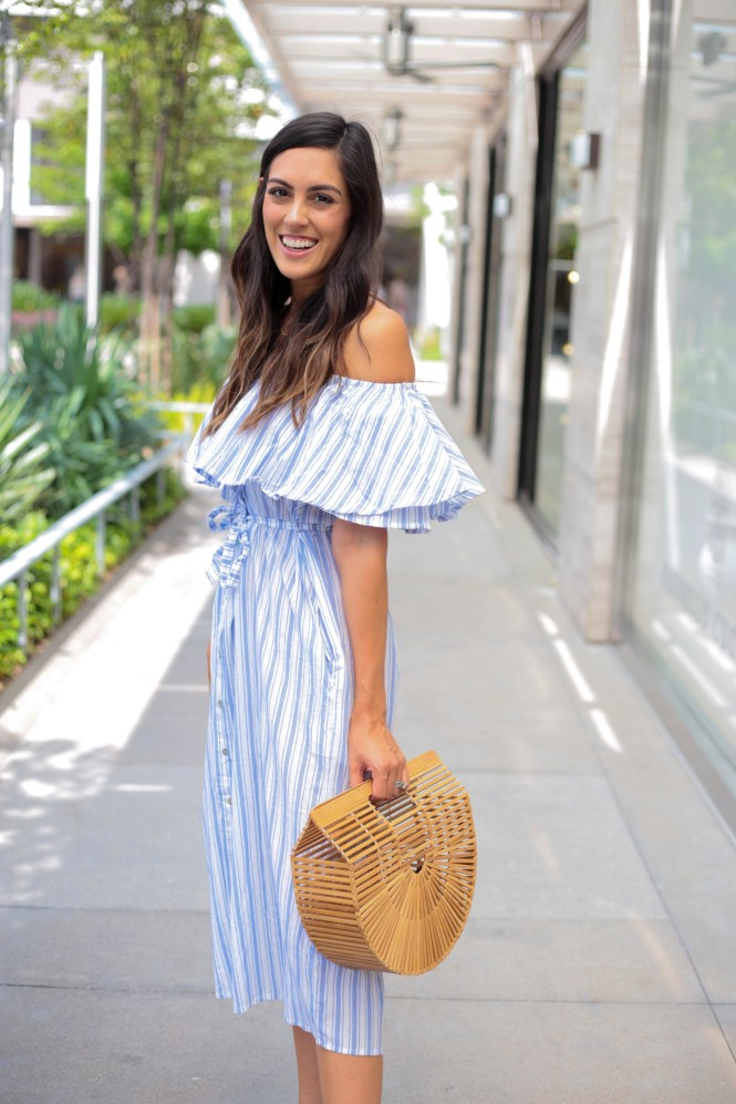 Style The Girl Off The Shoulder Striped Midi Dress