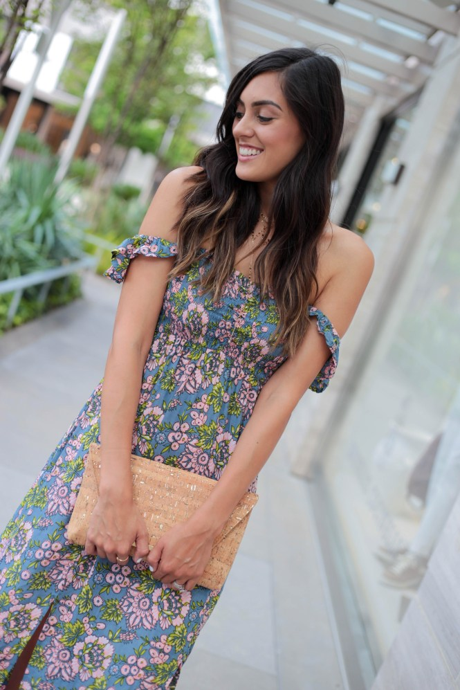 Style The Girl Floral High Slit Maxi Dress