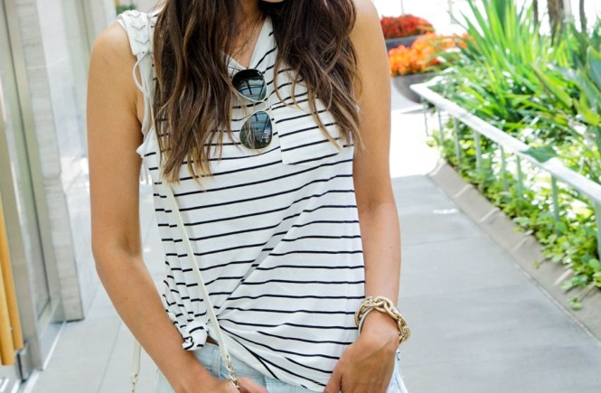 Style The Girl Striped Sleeveless Tee