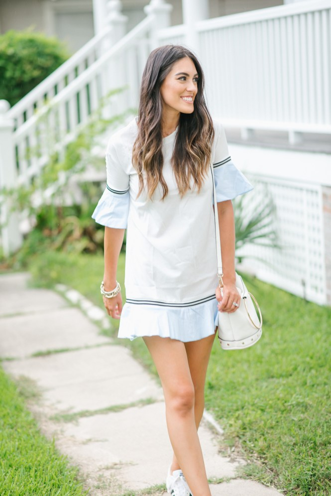 Style The Girl Ruffle Hem Dress and Adidas Sneakers