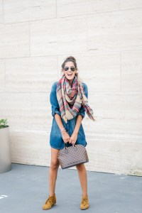 Style The Girl Denim Dress and Taftan Scarf