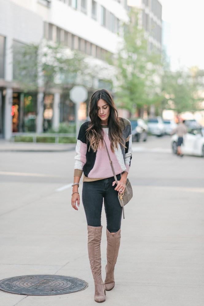 Style The Girl Color Block Sweater and Over The Knee Boots