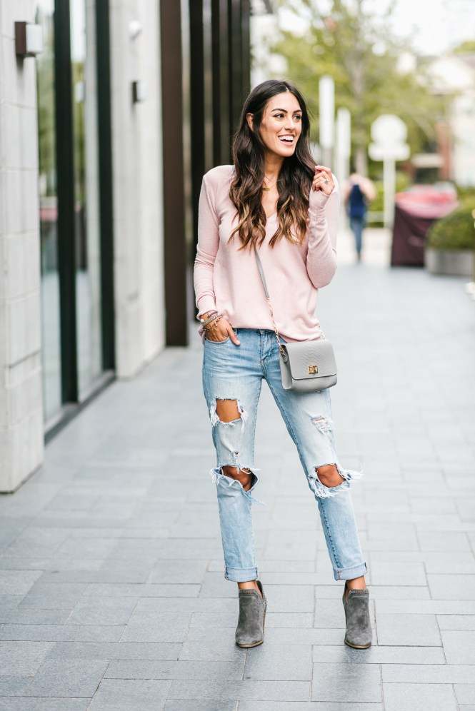 Style The Girl Pink Sweater and Ripped Jeans Outfit