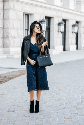 Style The Girl Blue Velvet Tie String Dress