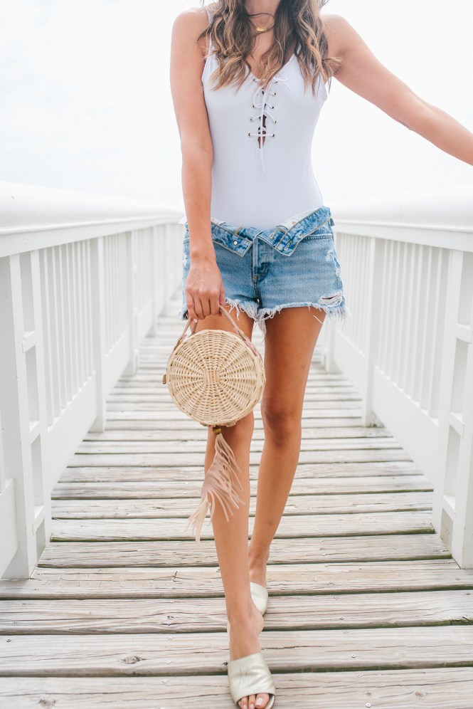 Style The Girl White One Piece Bathing Suit with Boyfriend Short Summer Style