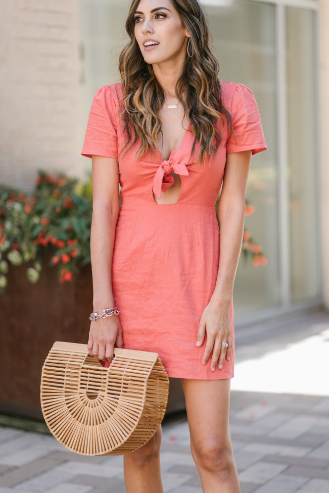 Style The Girl Orange Tie Front Dress