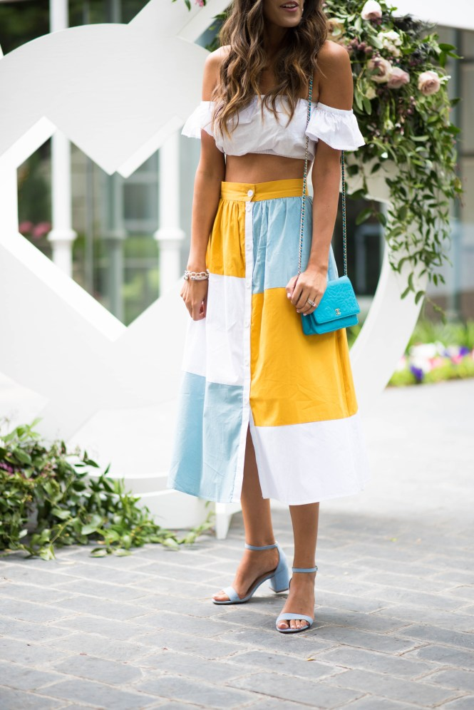 asos colorblock midi skirt asos white crop top baby blue sandals chanel cross body