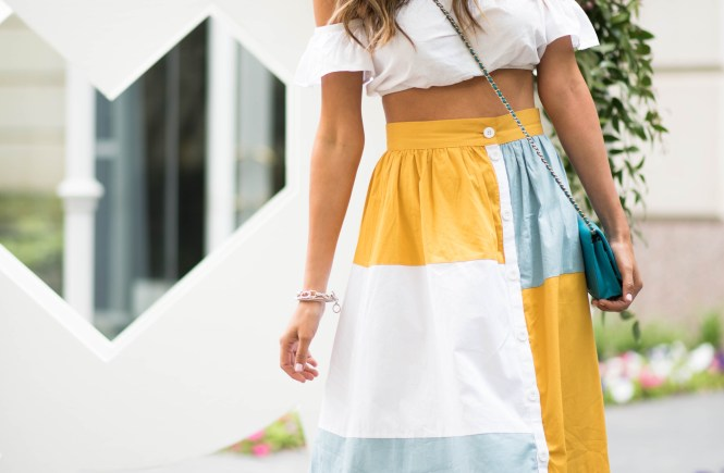 asos colorblock midi skirt asos white crop top chanel cross body