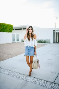 White Off Shoulder Top Denim Skirt