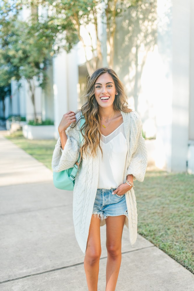 Oversized Knit Sweater with a white leith cami and agolde shorts for back to school
