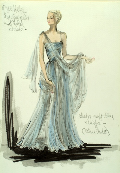 11 edith head blue gown sketch - 30+ Cool Fashion Sketches