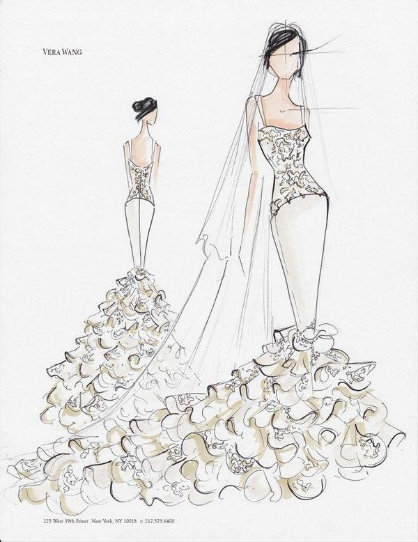 18 vera wang sketch for kim kardashians - 30+ Cool Fashion Sketches