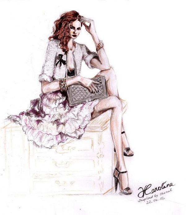 29 chanel inspired fashion illustration - 30+ Cool Fashion Sketches